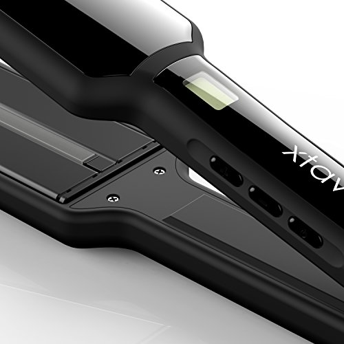 xtava Infrared Flat Iron Hair Straightener - Professional 2 Inch Dual Voltage Hair Straightening Irons with Wide Ceramic Plates Temperature Control For All Hair Types - Auto Shut Off with Travel Case