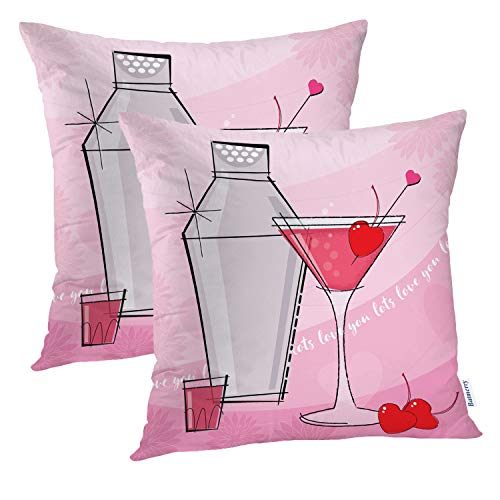 (Batmerry Love Pillow Decorative Throw Pillow Covers 18x18 Inch Set of 2, Pretty Pink and Red Valentine Cocktail with Shot Double Sided Square Pillow Cases Pillowcase Sofa)