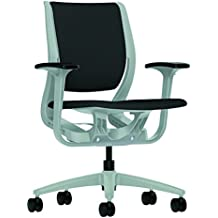 HON Purpose Platinum Shell Mid-Back Chair with Adjustable Arms for Office or Computer Desk, Iron Ore Fabric