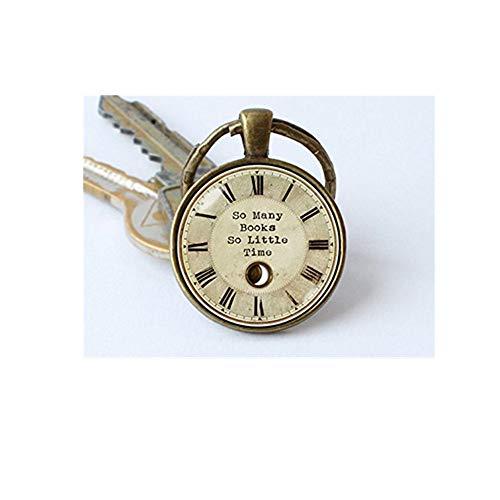 Book key chain, So many books So little time keyring, Reading Clock pendant, key chain