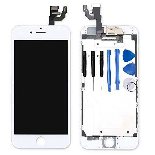for iPhone 6 Digitizer Screen Replacement White - Ayake 4.7' Full LCD Display Assembly with Front Facing Camera, Earpiece Speaker Pre Assembled and Repair Tool Kits