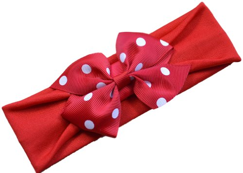 Polka Dot Bow Baby Headband (Red Band / Red Bow)
