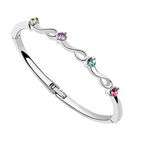 Crystals from Swarovski Multi Colorful Bangle Bracelet 18 ct White Gold Plated for Women 7