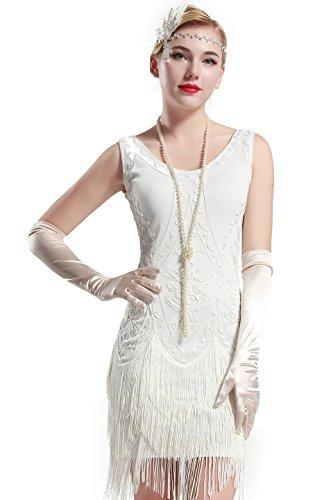 BABEYOND 1920s Flapper Dress Roaring 20s Great Gatsby Costume Dress Fringed Embellished Dress (Large) -