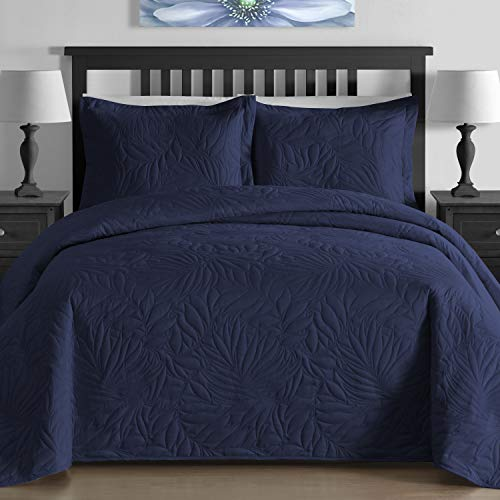- King & Queen Contemporary Extra Lightweight Thermal Pressed Bright Leafage Patterned 3 Piece Coverlet Set (Full/Queen, Navy Blue)