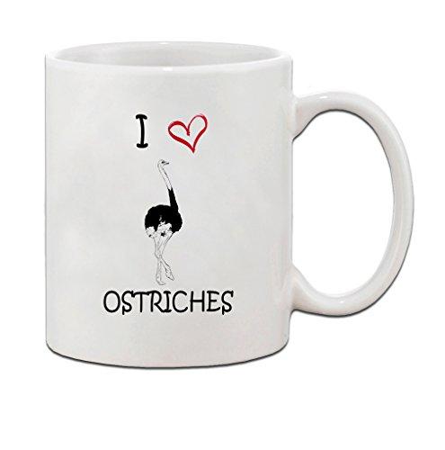 I love heart OSTRICHES Ceramic Coffee Tea Mug Cup 11 Oz - Holiday Christmas Hanukkah Gift for Men & Women