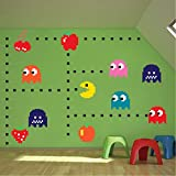 Pac Man Sticker for The Bedroom - Pac-Man Wall Decal Atari Bedroom Design Game Room Pac-Man Wall Mural, n52