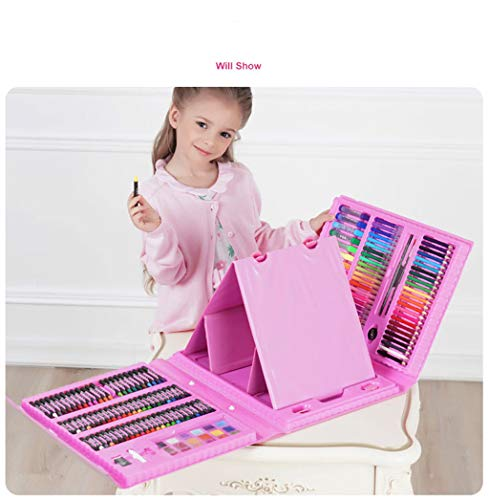 Zywtrade Children's Watercolor Brush Crayon Stationery Set Gift Box Painting Prizes Summer Training Gift Birthday Gift 176 Pieces Easel,Pink by Zywtrade (Image #2)