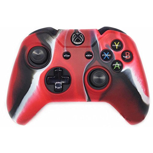 Clearance ! ღ Ninasill ღ Exclusive Soft Camouflage Silicone Case Cover For Xbox One Wireless Controller (Red) - One Silicone