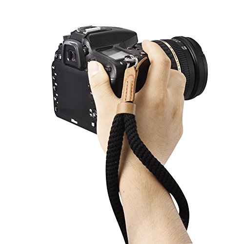 Soft Cotton Camera Wrist Strap,Turpro Soft Cotton With Leather Camera Hand Wrist Strap String for Sony Fuji Canon Olympus Nikon Panasonic Samsung (Black) (Sony Hand Wrist Strap)
