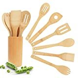 Bamboo Wooden Spoons & Spatulas Set - 6 Pieces Kitchen Cooking Utensils and 1 Holder, Heat Resistant for Non Stick Cookware