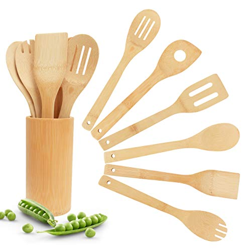 Bamboo Wooden Spoons & Spatulas Set - 6 Pieces Kitchen Cooking Utensils and 1 Holder, Heat Resistant for Non Stick Cookware (Wooden Spoons Spatulas)