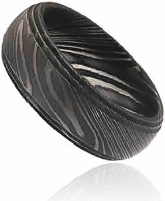 Damascus Steel Ring, Damascus Steel Rings For Men Wide 8mm Premium Damascus Band