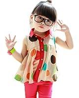 PanDaDa Girls Chiffon Tops Sleeveless T-shirt Colorful Polka Dot Lapel 2-7Y