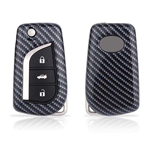 TOMALL Compatible Toyota Key Fob Cover Carbon Fiber Pattern Luxury Car Key Protective Cover Keychain for Camry 4-Runner RAV4 Highlander Yaris