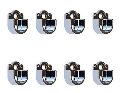 Metal Closet Wardrobe Rod Holder Socket End Support Pipe Bracket U-Shaped Flange for 19mm/0.75