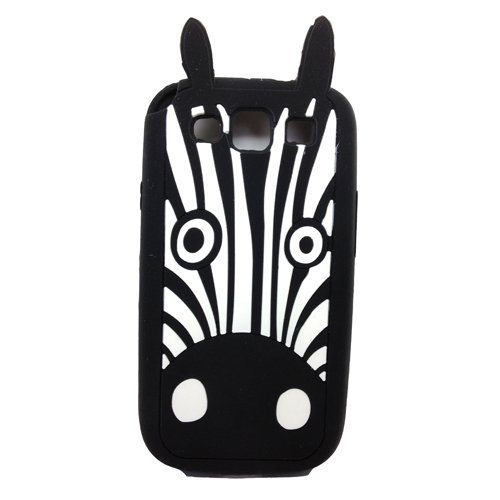 Samsung Galaxy S3 Case,Anya 3D Fashion Cute Flower Bow Ears Classic Cartoon Animal Soft Rubber Robot Silicone Back Shell Cases Cover Skin for Samsung Galaxy S3 S III SIII i9300 Zebra Head Shape