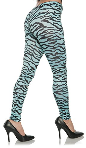 Joan Jett Costumes (Women's Retro 80's Zebra Leggings - Blue Zebra, L/XL)