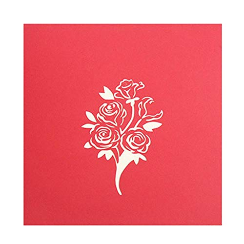 - ForU-1 3D Pop Up Cards Rose Valentine Greeting Card Wedding Postcard Birthday Gift