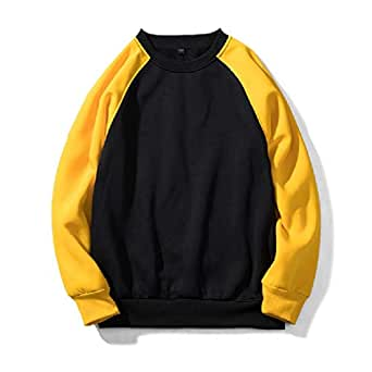 Mogogo Mens Over Sized Stitching Raglan Sleeve Pullover Top Sweatshirt 1 L