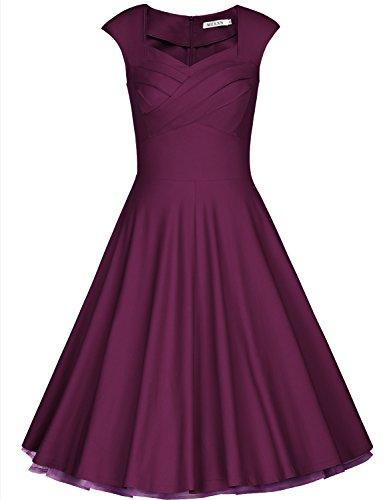MUXXN Women's Classy Pleated Neckline High Waist Juniors Prom Dress (Old Purple XS)