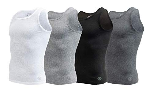 Aeropostale Mens 4 Pack Contour Fit Mens A-Shirt Tank top (Large, Multicolored) (Men Vest Aeropostale)