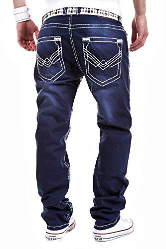 MT Herren Jeans, Straight Fit, Dicke Naht, Dunkelblau RJ-123