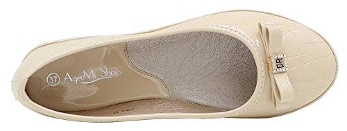 Abricot Femme Chaussures Ageemi Ballerines Plates Unie Couleur Shoes Tire qx8CxR