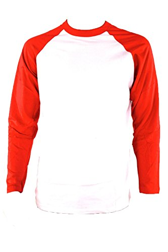 Teejoy Men's Basic Full Raglan Sleeve Baseball Tee Shirt (L, Red/White)
