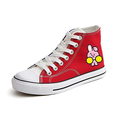 Bts Calzado Con De Cómodo Unisex Impresión Zapatos Alta Lienzo Dibujos Deportivo Logo Animados Gama Moda Tendencia Personalidad Nuevos Red16 Clásicos wqaAr4w
