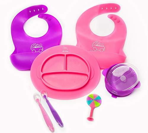 Silicone Baby Feeding Set for Self Feeding with Carrying Bag, Bibs Food Catchers, Divided Plate Place Mat, Kids Suction Bowl, Cute Spoons, Finger Toothbrush, Soft Teether (Pink-Purple)