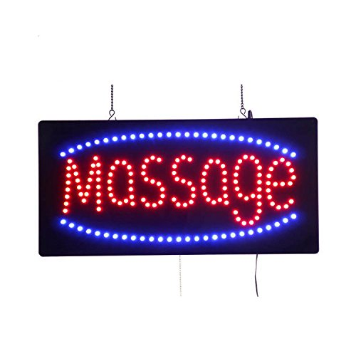 LED Massage Open Light Sign Super Bright Electric Advertising Display Board for Hair Nails Waxing Pedicure Manicure Business Shop Store Window Bedroom Decor (24 x 12 inches) ()
