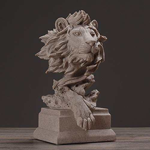 Statues Figurines Sculptures,Abstract Lion Head Sandstone Sculpture Wildlife Stoneware Artwork Souvenir Gift Craft Ornament,Enjoy The Home Decor Art Collection. ()