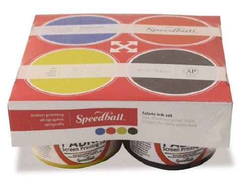 Speedball Fabric Screen Printing Ink, 4 Ounces Jars, Set of 4