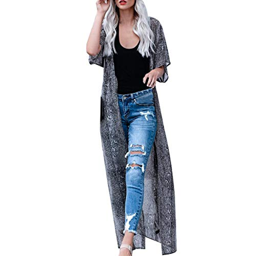 - DONTAL Womens Swimsuit Coverup Beach Long Kimono Bathing Suit Snake Print Long Cardigan Black
