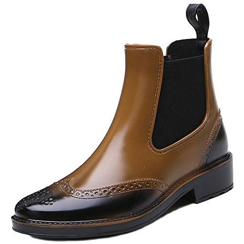 Rain TONGPU Short Camel Ankle Boots Rubber Womens Fashion Waterproof nnCwx64Pq