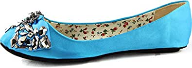 Women's Jeweled Crystal Round Ballet Cherish Redy-10-1 Turquoise Flats Shoes, Red , 6