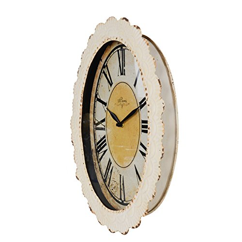 NIKKY HOME Paris Flower Wall Clock, 13-3/8'' x 2-3/4'' x 18-1/8'', Off-White by NIKKY HOME (Image #2)