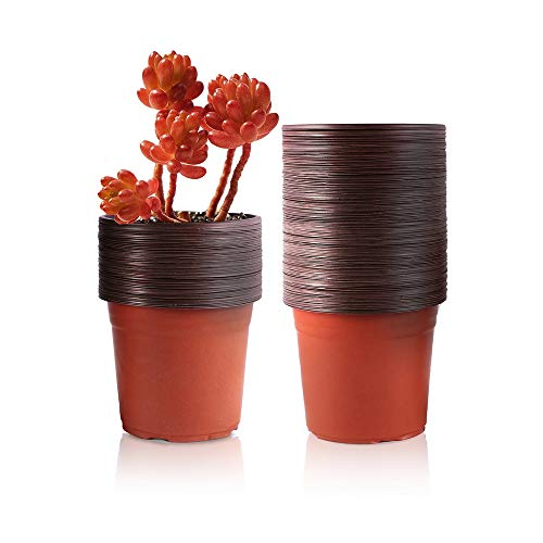 - YIKUSH 4 Inch 100 Packs Plants Nursery Pots Reusable Plant Seeding Nursery Pot