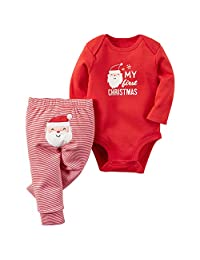YHBAO Christmas Outfits Baby My First Christmas Rompers with Xmas Hat Clothes Set
