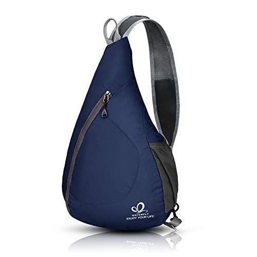 (WATERFLY Packable Shoulder Backpack Sling Chest Crossbody Bag Cover Pack Rucksack for Bicycle Sport Hiking Travel Camping Bookbag Men Women (Dark Blue))