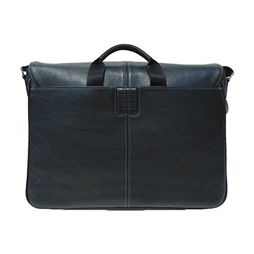 Boconi Tyler Tumbled Slim Mailbag Messenger (Black with Khaki)