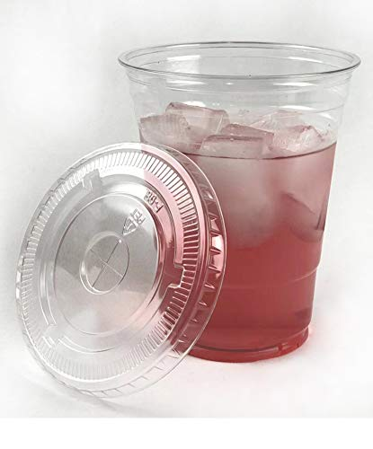100sets 16oz. Plastic Ultra Clear Cups with flat lids is for cold drinks like iced coffee, Bubble Tea, Frozen Cocktails, water , Sosa and jucies