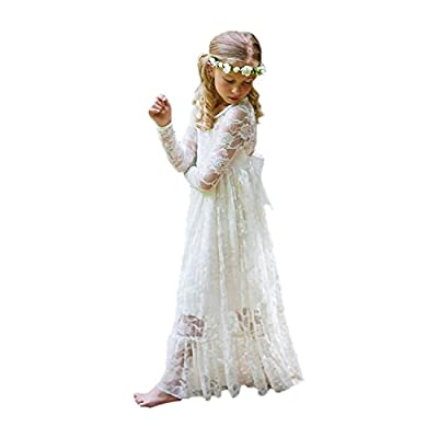 Fancy Ivory White Lace Flower Girl Dress Boho Rustic First Communion Gowns