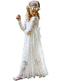 4b07370887 Fancy Ivory White Lace Flower Girl Dress Boho Rustic First Communion Gowns
