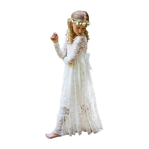 Fancy Ivory White Lace Flower Girl Dress Boho Rustic First Communion Gowns(Size 6,Ivory)