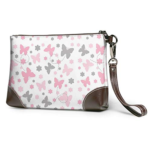 Pink Grey Gray Butterfly Floral Garden Leather Wristlet Clutch Bag Zipper Handbags Purses Phone Wallets With Strap Card Slots
