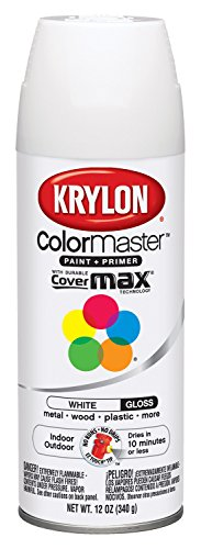 Krylon K05150107 ColorMaster Paint + Primer, Gloss, White, 12 oz.