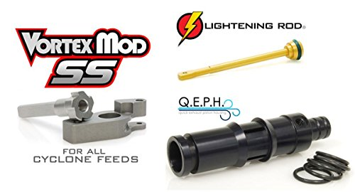 Techt Paintball Upgrade Package for Tippmann Cyclone Feed Systems A-5 X7 Phenom 98 - Includes Lightening Rod + Vortex Mod SS + Q.E.P.H.
