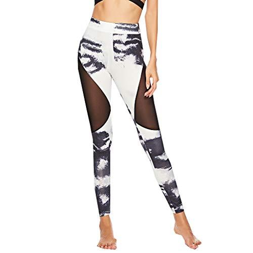 (Women's Patchwork Leggings,Sommer Mesh Yoga Pants Tights Sport Fitness High Waist Pants Control Slimming Sweatpants Print Training Pants)